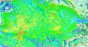 Diagrama de radiación. Cobertura combinada desde tres centros: Zaldiaran, Maestu-Onraitia y Aldaia