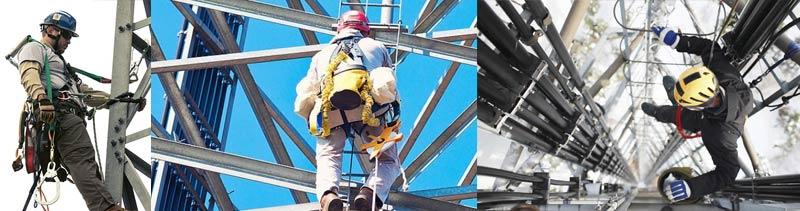 Antena de transmisión de Radio - Antenistas trabajando en torreta